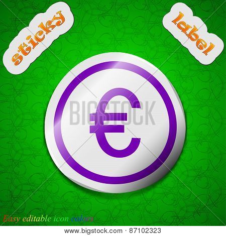 Euro Icon Sign. Symbol Chic Colored Sticky Label On Green Background. Vector