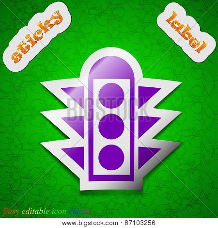 Traffic Light Signal Icon Sign. Symbol Chic Colored Sticky Label On Green Background. Vector