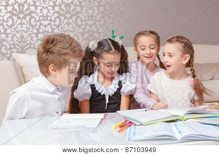 Boy and girls spend time together