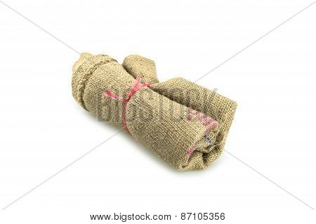 Roll Of Old Sack Or Crumpled Burlap