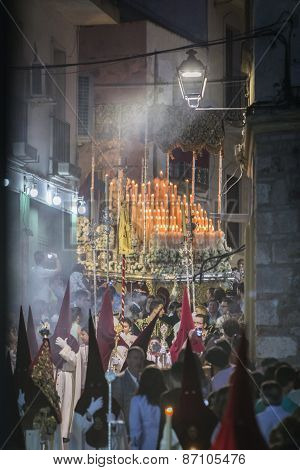 Nuestra Señora Del Rosario Passing By The Stret With The Candeleria Illuminated Carried By Bearers,