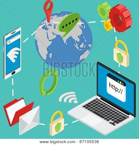 web isometric online safety data protection secure connection cryptography antivirus