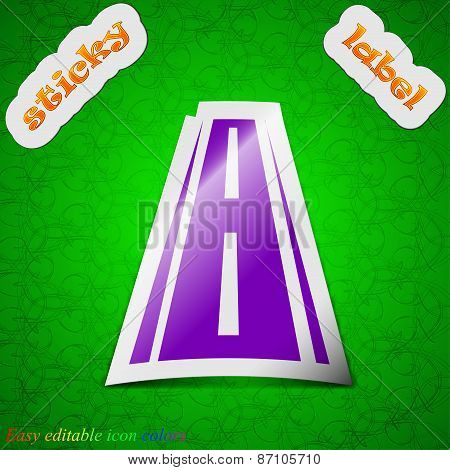 Road Icon Sign. Symbol Chic Colored Sticky Label On Green Background. Vector