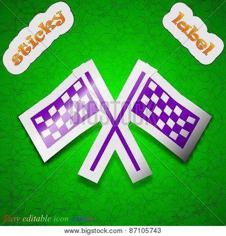 Race Flag Finish Icon Sign. Symbol Chic Colored Sticky Label On Green Background. Vector