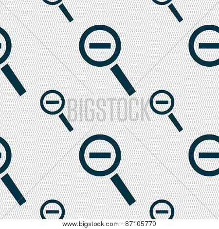 Magnifier Glass, Zoom Tool Icon Sign. Seamless Pattern With Geometric Texture. Vector