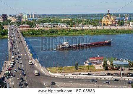 View Of Nizhny Novgorod Cityscape, Bridge Over River.