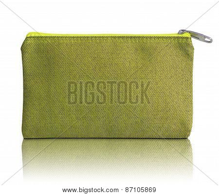 Yellow Fabric Bag With Zipper On White Background