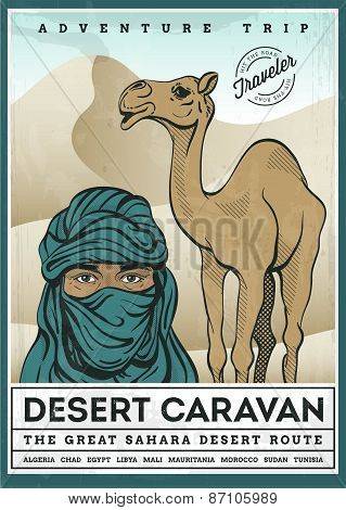 Illustrated Poster Of Desert Tourism