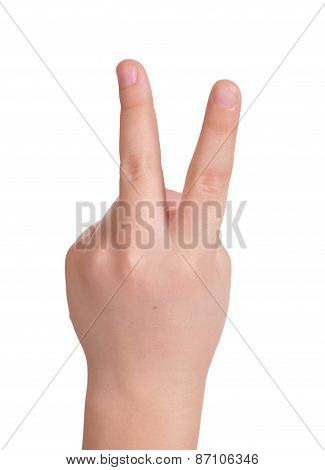 Child's Arm With Two Fingers Straightened
