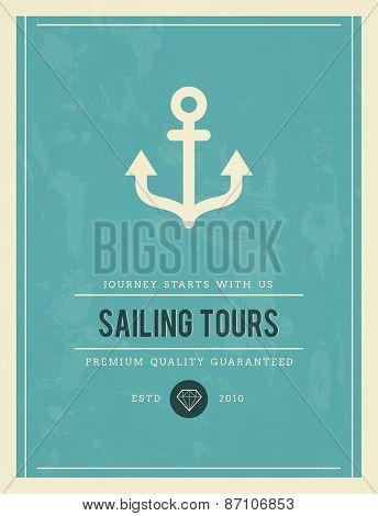 Vintage Poster For Sailing Tours