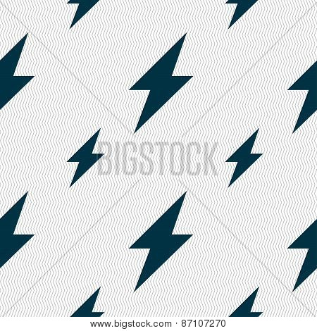 Photo Flash Icon Sign. Seamless Pattern With Geometric Texture. Vector