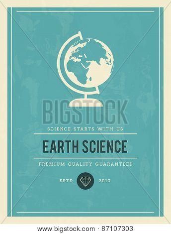 Vintage Poster For Earth Science, Vector Illustration