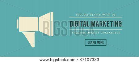 Vintage Banner Of Digital Marketing