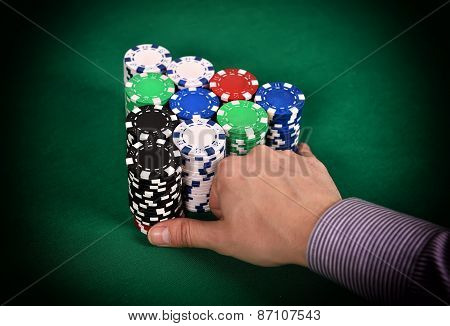 Dealer Moves Poker Chips