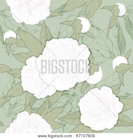 seamless pattern white peonies and buds on a green background.vector illustration