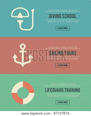 Set Of Vintage Water Activity Banners