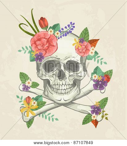 Hand Drawn Decorative Skull With Flowers