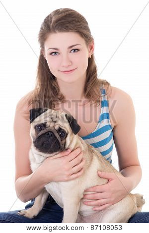 Young Beautiful Woman Holding Pug Dog Isolated On White