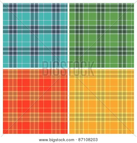 Set of color seamless tartan patterns. Vintage fabric texture