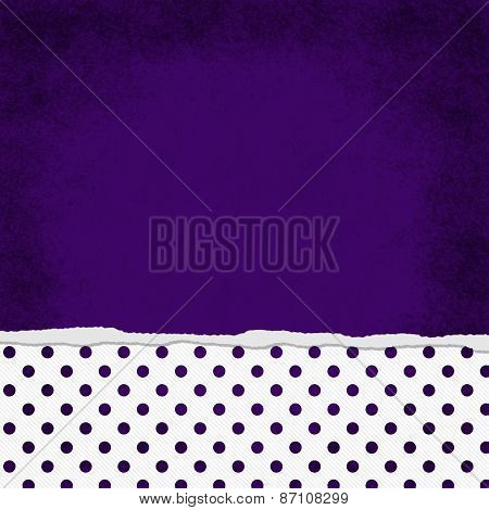 Square Purple And White Polka Dot Torn Grunge Textured Background