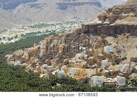 View to the town of Seiyun, Hadramaut valley, Yemen.