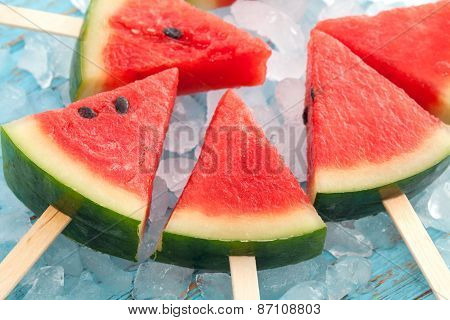 Watermelon Popsicle Yummy Fresh Summer Fruit Sweet Dessert Wood Teak