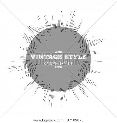 Vintage style star burst, retro element for your design, vector illustration