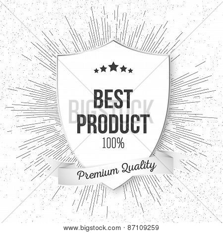 Best product shield isolated on blurred background with vintage style star burst, retro element for