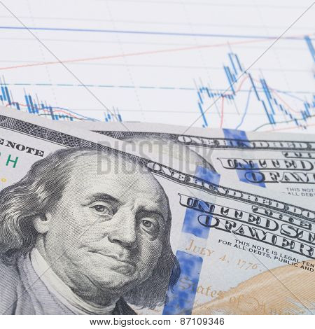 Stock Market Graph With Pen And Hundred Dollars Banknote - Studio Shot