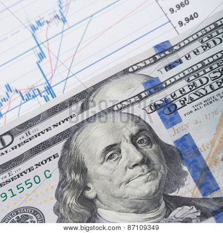 Hundred Us Dollars Banknote Over Stock Market Graph