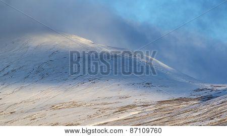 Beautiful Morning Winter Sunlight On Mountain Landscape Detail