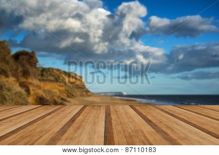 Landscape Vivd Sunset Over Beach And Cliffs With Wooden Planks Floor