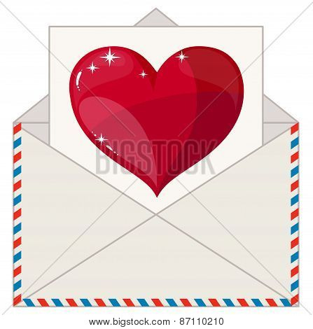 Envelope with a Letter in the Form of Valentines. Stock Vector Illustration