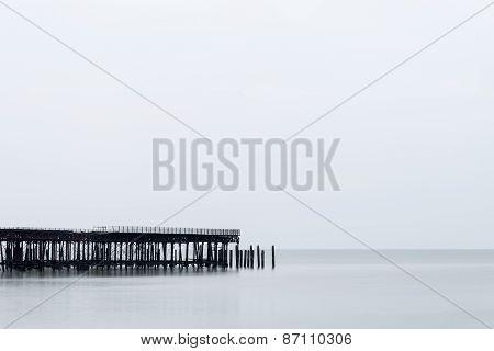 Sunrise Minimalist Landscape Of Pier Under Construction And Development