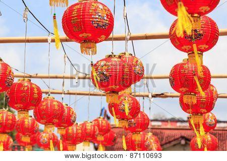 Chinese New Year Lanterns Hang On Rope