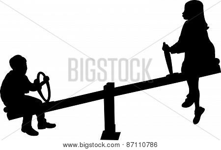 girl and boy playing, seesaw, silhouette vector