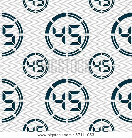 45 Second Stopwatch Icon Sign. Seamless Pattern With Geometric Texture. Vector