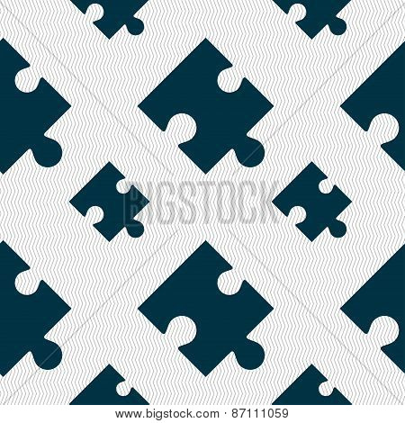 Puzzle Piece Icon Sign. Seamless Pattern With Geometric Texture. Vector