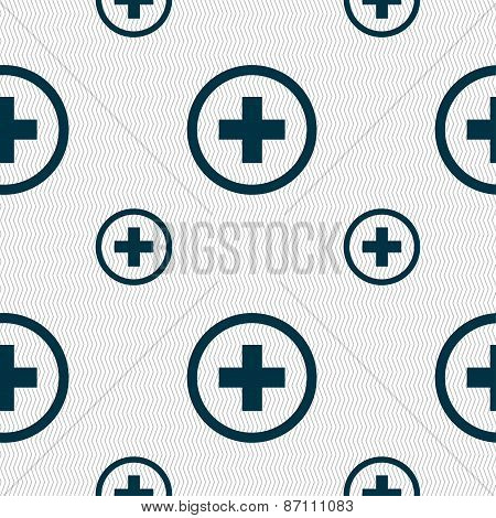 Plus, Positive, Zoom Icon Sign. Seamless Pattern With Geometric Texture. Vector
