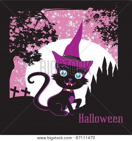 Cute Black Kitten Wizard