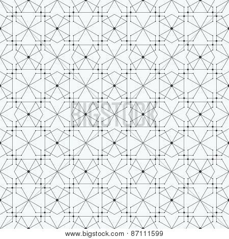 Seamless pattern with hexagons and nodes. Repeating modern stylish geometric background. Simple abst