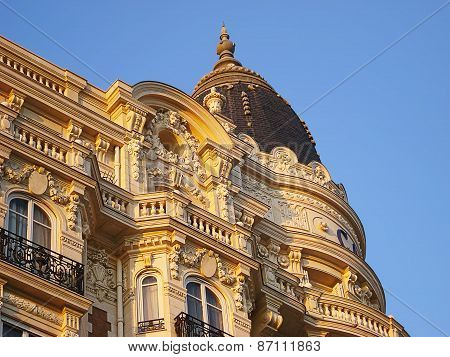 Cannes, France - August 30, 2008: Hotel Carlton one of towers and fragment of exterior design