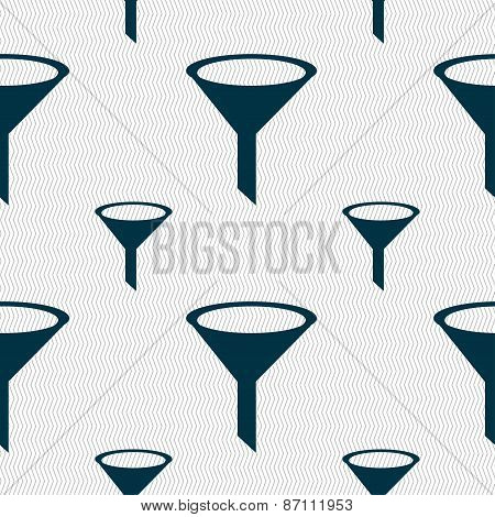 Funnel Icon Sign. Seamless Pattern With Geometric Texture. Vector