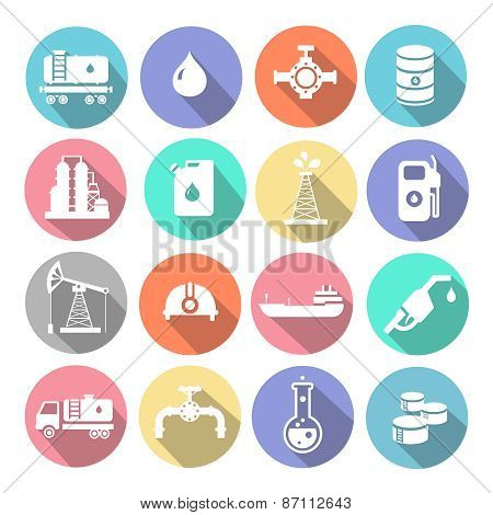 Oil industry drilling refining process petroleum transportation icons set with truck petroleum tanke
