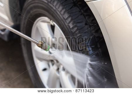 Car Washing With High Pressure Water Jet