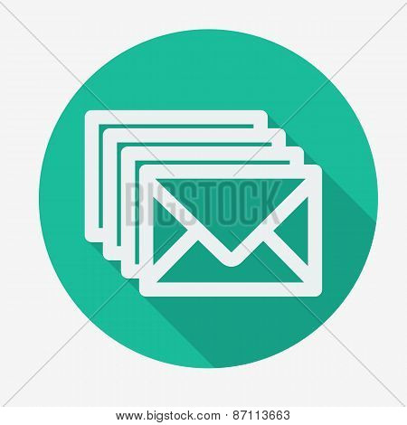 Four envelopes flat icon with long shadow. Vector illustration