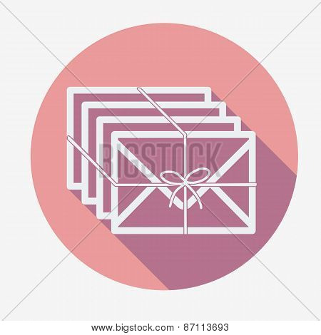 Single flat mail icon with long shadow. Vector illustration.