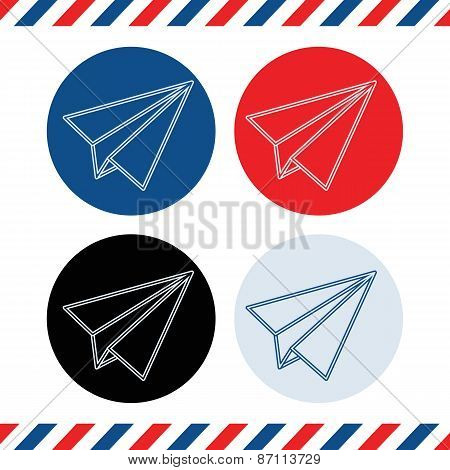 paper plane flat style icons.