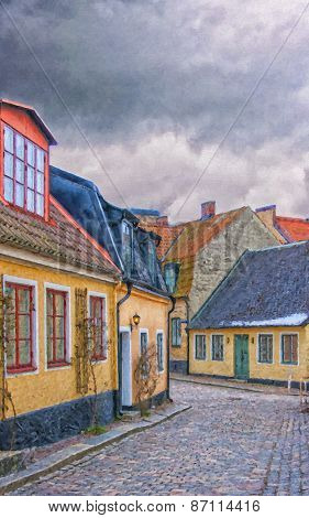 Streets Of Lund Digital Painting