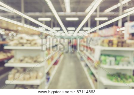 Blurred Background : Thai People Shoping In Supermarket Store